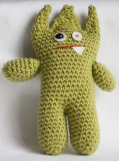 """Littlest Green Monster Toy - Free Amigurumi Pattern, PDF File, click """"Littlest Green Monster Toy"""" in grey letters here: http://emmavarnam.co.uk/?page_id=228"""