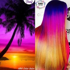 Breathtaking Sunset Color Melt done by using Cute Hair Colors, Galaxy Hair, Great Hair, Amazing Hair, Sunset Colors, Color Melting, Pastel Hair, Crazy Hair, Cute Hairstyles