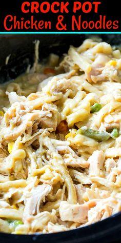 Crock Pot Chicken and Noodles Crock Pot Food, Crock Pot Slow Cooker, Slow Cooker Chicken, Slow Cooker Recipes, Gourmet Recipes, Cooking Recipes, Healthy Recipes, Crockpot Meals, Easiest Crockpot Recipes