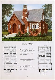 House Plans Bungalow Fresh 1920 National Plan Service In 2019 Vintage House Plans, Country House Plans, Small House Plans, House Floor Plans, Tudor House, Tudor Cottage, Bungalows, Cottage Design, House Design