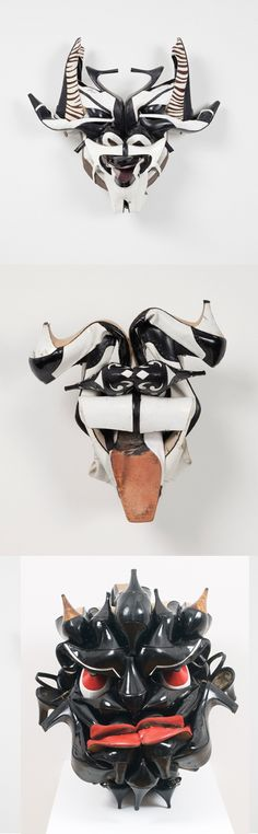 Stunning Recyclart. Shoes as MASKS by Willie Cole