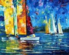 """CLOSE  ENCOUNTER — PALETTE KNIFE Oil Painting On Canvas By Leonid Afremov - Size 16""""x20"""""""