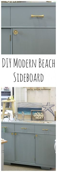 DIY Modern Beach Sideboard, MIDCENTURY MODERN PERSIAN BLUE SIDEBOARD WITH MODERN GOLD HARDWARE