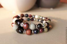 """Купить Пара браслетов """"Дикая ежевика"""" - разноцветный, Браслет ручной работы, браслет из камней"""