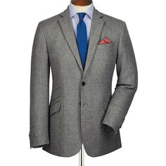 Silver windowpane Slim fit luxury summer tweed jacket | Men's sport coats & blazers from Charles Tyrwhitt | CTShirts.com