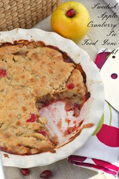 Healthy, low calorie and fat Dessert - Swedish Apple Cranberry Pie - a fantastic, easy pie for Thanksgiving and it's pretty heatlhy.  www.fooddonelight.com