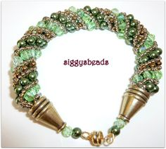 green pearl russian spiral bracelet