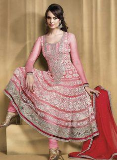 Sparkling Pink Net Anarkali Suit $75.97