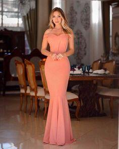{Carolina} vestido festa longo sereia ombro a ombro madrinha casamento formatura (cor rosé Prom Dresses, Formal Dresses, Under Armour, Dressing, Plus Size, Glamour, Entertainment Center, Coral, My Style