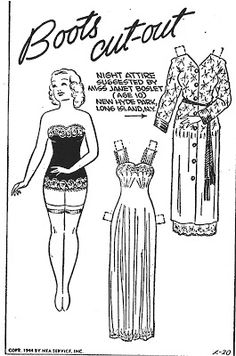Boots and Her Nightgown and Robe, 20 Fe 1944 | Mostly Paper Dolls