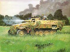"""Waffen SS halftrack with gun Sd.Kfz. 251/9 """"Stummel"""" of the 2nd SS Panzer…"""