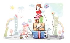 Young Love - Valentine Cute Couple illustrations
