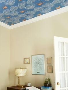 How to Wallpaper a Ceiling >> http://www.hgtvremodels.com/interiors/how-to-wallpaper-a-ceiling/pictures/index.html?soc=pinterest