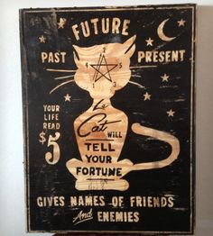 "Le Cat Psychic Services Wood Sign - 18"" x 24"""