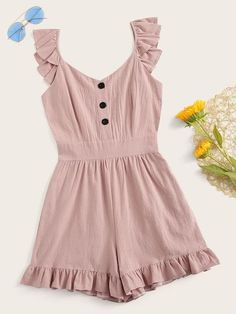 Color: PinkDetails: Ruffle HemFabric: Fabric has no stretchFit Type: RegularComposition: PolyesterNeckline: V neckPattern Type: PlainSeason: SummerSleeve Length: SleevelessStyle: BohoWaist Type: Mid WaistMaterial: Polyester Girls Fashion Clothes, Teen Fashion Outfits, Cute Fashion, Outfits For Teens, Girl Fashion, Girl Outfits, Clothes For Women, Cute Summer Outfits, Cute Casual Outfits