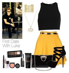 """First Date With Luke"" by hana-69 ❤ liked on Polyvore featuring Salvatore Ferragamo, 2b bebe, Paloma Picasso, Stila, Lancôme, Guerlain and Smashbox"