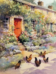 """""""The Red Door"""" watercolour by Trevor Waugh"""