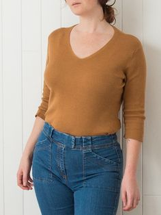 Ochre knit top Turtle Neck, V Neck, Pullover, Knitting, Sleeves, Sweaters, Shopping, Tops, Fashion