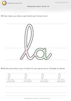 Fiche d'écriture cursive pour Maternelle GS - Apprendre à écrire les mots la, ce, ceci, cela, au, de, du qui utilisent les lettres cursives arrondies.