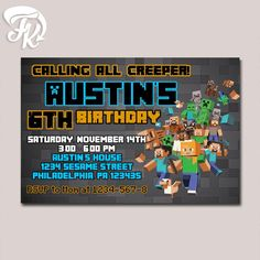 Minecraft Invite Black Design Birthday Party Card Digital Invitation Kid…