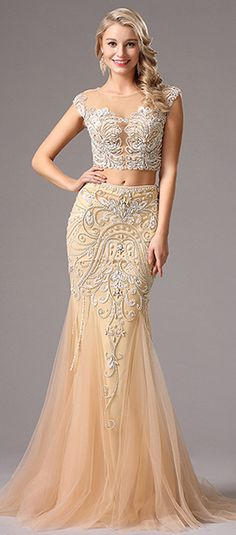 Beaded Two-piece Evening Dress.