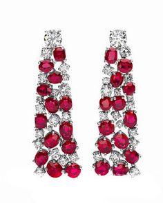Pendientes de diamantes y rubíes. Bulgari