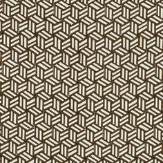 Tumbling Blocks in Chocolate by Miles Redd for Schumacher @schumacher1889 #fabric #textiles #linen #cotton #geometric #brown #schumacher #milesredd