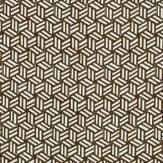 Tumbling Blocks in Chocolate by Miles Redd for Schumacher @schumacher1889 #fabric #textiles #linen #cotton #geometric #brown #schumacher #milesredd