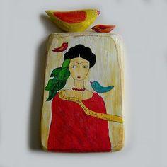 Frida Kahlo z kolorowymi ptakami w pracownia na deskach na DaWanda.com