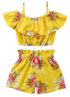 Toddler Kids Baby Girl Floral Halter Ruffled Outfits Clothes Tops+Shorts Set Image 1 of 6 Girls Summer Outfits, Dresses Kids Girl, Little Girl Outfits, Little Girl Fashion, Summer Girls, Fashion Kids, Toddler Outfits, Toddler Fashion, Dress Girl
