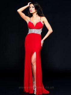 Spaghetti Straps Sleeveless Floor-length Long Red Evening Dresses ED0192