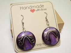 Purple TaguaChip Earrings  Boho Eco friendly by IngridFonseca, $14.00