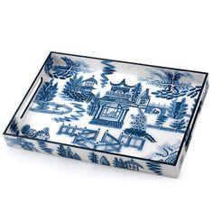 Blue Chinoiserie Rectangular Lacquer Tray