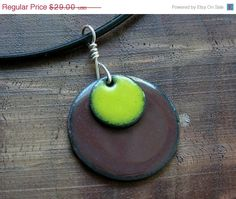 Mothers Day SALE Yellow and brown Copper Enamel by Steinvika, $26.10