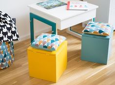 DIY-Anleitung: Praktische, kleine Sitztruhen für Kinder selber bauen, Kinderzimmer Möbel / DIY tutorial: making convenient little chest for kids, furniture for your children's room via DaWanda.com