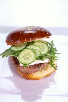 Lamb Burger Arugula Feta Cucumbers Michael Symon