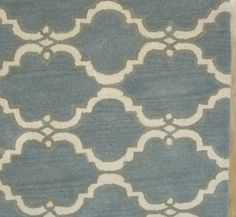 Moroccan Scroll Tile Gray/Porcelain Blue Persian Style Wool Area Rug