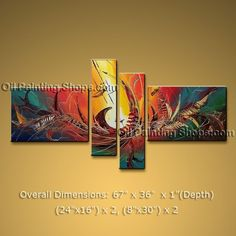 Hand-painted Tetraptych Modern Abstract Painting Wall Art Artwork Images #1334 #Abstract