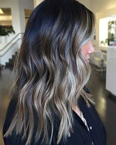 Black Hair with Icy Blonde Highlights Icy Blonde, Brown Blonde Hair, Balayage Hair Blonde, Brunette With Blonde Balayage, Blonde For Brunettes, Dark Brown Hair With Highlights Balayage, Dark Brown Balayage, Dark Ombre, Red Balayage