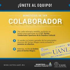Ser colaborador tiene beneficios, conócelos. http://www.sorteo.uanl.mx/colaboradores/beneficios/