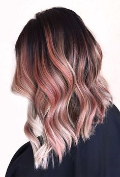 Rose gold ombre hairstyles 2017 with dark roots
