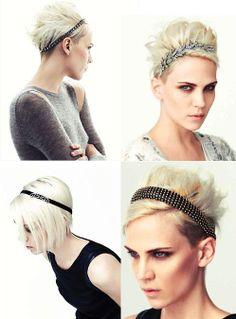 Mollie Sue, all headbands by Jennifer Behr - Platinum bob undercut