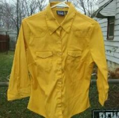 Bold blouse Canary yellow 3/4 sleeve top. 77% poly 20% nylon 3% spandex. Perfect condition cotton express  Tops Button Down Shirts