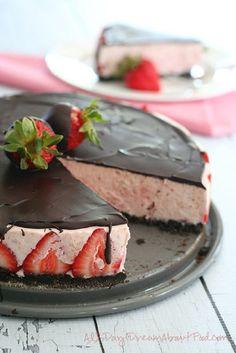 No Bake Chocolate Covered Strawberry Cheesecake - 16 Most Cherished Strawberry Cheesecake Recipes | GleamItUp