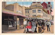 "westside-historic:  ""Vintage postcard from the 1930s of the boardwalk tram that drove tourists between Santa Monica, Ocean Park, and Venice.  """