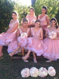 Outlet Light Bridesmaid Dresses A-Line, A-line Sweetheart Tea Length Tulle Bridesmaid Dresses With Appliques Blush Pink Prom Dresses, Tea Length Bridesmaid Dresses, Junior Prom Dresses, Pink Tulle, Flower Girl Dresses, Homecoming Dresses, Quinceanera Dresses, Dress Prom, Bridesmaids