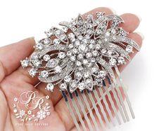 Wedding Hair Comb Rhinestone firework style by PureRainDesigns