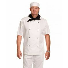 CHEF'S SHORT SLEEVE JACKET Fabric: Polyester/Cotton - Polyester, Cotton. Double breasted with 8 interchangable buttons. Long sleeves with flap-over wrist band. Safety Workwear, Promotional Clothing, Staff Uniforms, Custom Screen Printing, Work Trousers, Short Sleeves, Long Sleeve, Mandarin Collar, Suits You