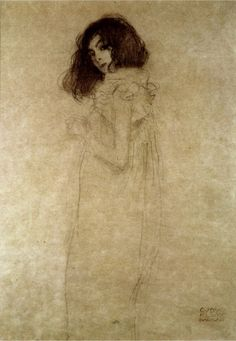 Gustav Klimt Portrait of a Young Woman (Sketch): In-depth history and analysis, featuring Gustav Klimt art prints and posters.