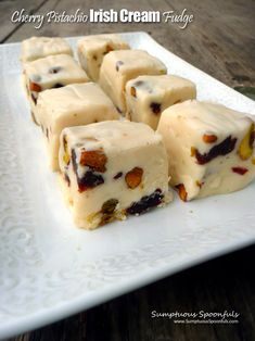 Cherry Pistachio Irish Cream Fudge ~ A simple, but oh-so-decadent white chocolate fudge ~ Sumptuous Spoonfuls #easy #bailey's #fudge #recipe